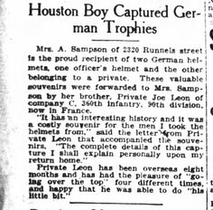 Joe Leon WWI Houston Post 3 Jan 1919 pg 12