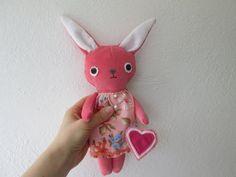 Velveteen bunny doll, pink LOLA bunny with a heart, rabbit doll