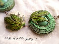 green polymer clay pendant with leaf