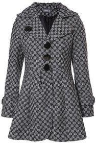 Grey Starry Dogtooth Print Coat