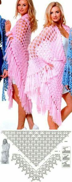 Shawl Archives - Beautiful Crochet Patterns and Knitting Patterns Beau Crochet, Poncho Au Crochet, Crochet Shawl Diagram, Pull Crochet, Crochet Shawls And Wraps, Crochet Scarves, Crochet Clothes, Crochet Lace, Crochet Stitches