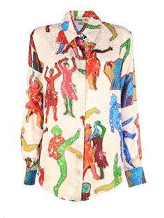 Stella McCartney Silk Lucy In The Sky Diamonds Shirt Diamond Shirts, Stella Mccartney Dresses, Beige Shirt, Luxury Fashion, Womens Fashion, Bell Sleeve Top, Button Down Shirt, Shirt Dress, Silk
