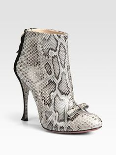Nina Ricci - Python and Suede Bow Ankle Boots