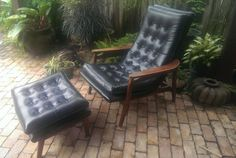 Milo Baughman Style Vinyl Lounge Chair And by CreekStreetUnique, $495.00