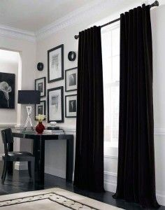 Simple black curtains.