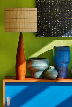 mid century modern Belgium pottery ceramics; Love the lamp!