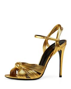 Gucci Allie Knotted Strappy Sandal, Gold In Gold Metallic Leather Gold Strappy Heels, Metallic Sandals, Gold Shoes, Strappy Sandals, Leather Sandals, Stiletto Heels, High Heels, Shoes Sandals, Gold Sandals