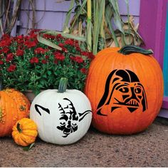 Amazon.com: Pumpkin Decorations, Star Wars Halloween Decorations Darth Vader, Yoda, Storm Trooper and Death Star Jack O Lantern Stickers - Halloween Fun, Set of 3 Faces Fall Decor: Home & Kitchen