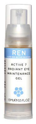 ACTIVE 7 RADIANT EYE MAINTENANCE GEL. Gel contorno de ojos restructurante. CURA INMEDIATA OJOS CANSADOS.  Gel ligero y refrescante formulado con mucílagos extraídos del higo, que refrescan y reavivan los ojos cansados. Contiene además gipenosidos (del jiaogulan), gisenosidos (del ginseng), laminaria y árnica para estimular la circulación y reducir la hinchazón. Hidratación duradera. Auténtico flash de belleza para el contorno de los ojos (29.00 € i.v.a. incluido).
