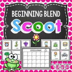 Beginning Blend Scoot or Task Cards Kindergarten Literacy Stations, Kindergarten Freebies, Kindergarten Classroom, Classroom Ideas, Teaching The Alphabet, Teaching Reading, Teaching Ideas, Reading Resources, Reading Activities