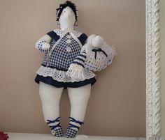 poupée tissu d'inspiration tilda la Baigneuse de Deauville bleu marine et blanc : Accessoires de maison par dame-brigitte