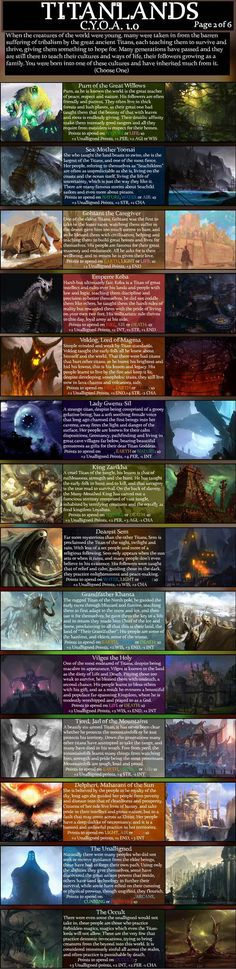 CYOA The Titanlands. T TANLINES In this world, the world of Dres' heart, there are many paths to take, many great things to witness for someone such as you, i Character Creation, Character Design, Character Ideas, Character Art, Fantasy World, Fantasy Art, Fantasy Story, Cyoa Games, Create Your Own Adventure
