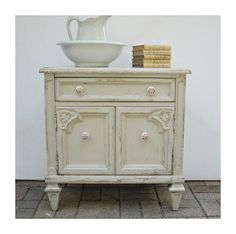 Cottage Shabby Chic Nightstand Cabinet Bedside Table Dove Grey