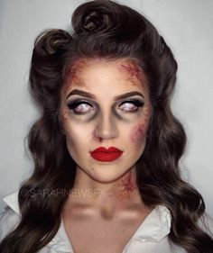 """Sarah New✨ on Instagram: """"ZOMBIE PIN-UP GIRL TUTORIAL NOW LIVE ON MY YOUTUBE🖤 Happy Halloween Freaks🧟♀️ Link to the video is in my Bio🎃"""""""