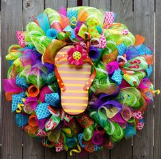Flip flop Wreath XL deco mesh summertime by ourinspiredcreations
