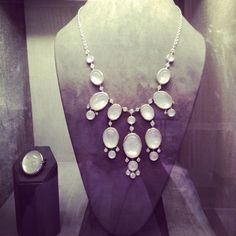 Showcase Pick Of The Day: This fabulous 18K White Gold Mother of Pearl overlaid with Rock Crystal Necklace and Ring from our Bubble Collection.