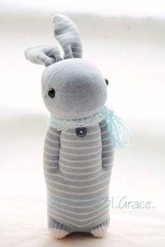 216 azul e cinza meias listradas coelho bebê de 1