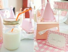 gingham party via Piggy Bank Parties! love the idea of mason jar for drinks but maybe a smaller size?