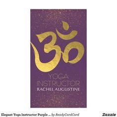 Elegant Yoga Instructor Purple and Gold Om Symbol Business Card