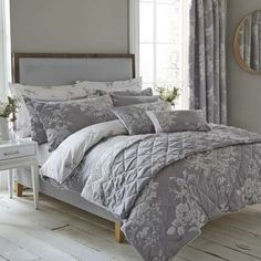 Bed Linen King Duvet Cover Floral Regency New Jacquard Cream Clearance Litecraft