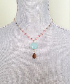 Gold Necklace with Mystic Labradorite and Pink by CJCjeweldesigns