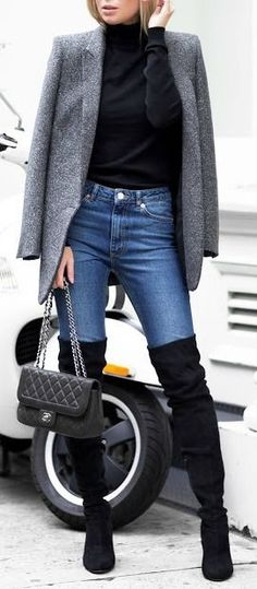what to wear with a blazer : black top + jeans + bag + over the knee boots