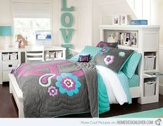 20 Stylish Teenage Girls Bedroom Ideas -about pic #10 shows a unique twist on the loft bed(the bed is below and the office/closet is on the platform)