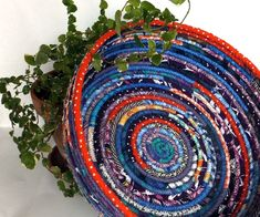 Large Round Coiled Basket Bowl  Deep Ocean by SquareCircleWorks, $54.00