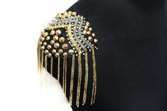 2 PCS Schultern Perlen und Nieten Applikationen für Fashion Handwerk  Größe: 12…