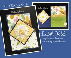 ATC Dutch Fold using Stampin' Up! Daisy Punch, stamps, and papers. By Beverly Stewart aka ruby-heartedmom.