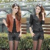 Women Punk Zipper Blazer Coat Faux ArtificiaLeather Short Motorcycle Moto Jacket,  http://www.shopcost.co.uk/