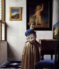 Lady Standing at a Virginal (2) - (Jan Vermeer)