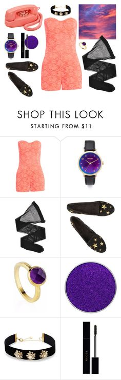 """Coral and Violet in the Skies"" by punksodababe ❤ liked on Polyvore featuring Nixon, Giorgio Armani, Neola, Suva Beauty, Lydell NYC, Gucci and vintage"