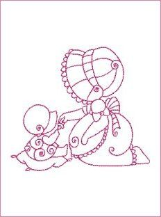 10 Redwork Designs - Hoop * These motherly sunbonnets love to babysit! Free Machine Embroidery Designs, Hand Embroidery Patterns, Applique Patterns, Applique Quilts, Embroidery Applique, Embroidery Stitches, Quilt Patterns, Sunbonnet Sue, Hand Embroidery Flowers
