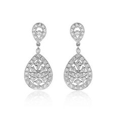 Diamond 14k White Gold Antique Style Dangle Earrings