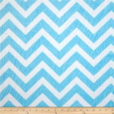 Minky Cuddle Chevron Turquoise/Snow from @fabricdotcom  This Minky Cuddle Chevron fabric has an extremely soft 3mm pile that's perfect for baby accessories, blankets, throws, pillows and stuffed animals.