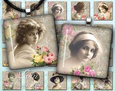 Antique Photo - Digital Collage Sheet - 1 inch square - square images - vintage printable - digital paper - scrapbook - magnet - ephemera