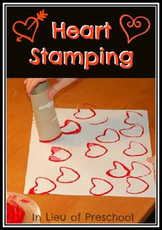 Toilet Paper Heart Stamping!  I love this activity!  What's your favorite easy Valentine's craft for kids?