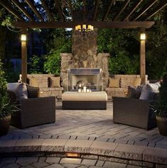 Contemporary outdoor fireplace- - Learn how to design your own outdoor fireplace or fire pit.  We show you how at http://gardendesignforliving.com/?page_id=1086