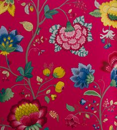Floral Fantasy - Raspberry wallpaper, from the Pip 3 collection by Brian Yates