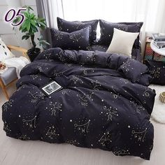 Home Textile Galaxy Star Bed Linen Constellation Duvet Cover Bedding Set Twin Full Queen King Size Pillowcases Bed Price history. Category: Home & Garden. Subcategory: Home Textile. Product ID: Minimalist Bedding Sets, Black Bed Linen, Luxury Bedding Sets, Black Bedding, Cool Beds, Cool Bed Sets, Dream Rooms, Comforter Sets, Queen Bedding Sets