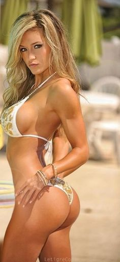 #hot #blonde in white and gold #bikini.