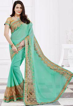 Alluring Aquamarine and Beige #Saree #designer #bollywood