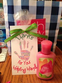 Parent volunteer gifts: Bath and Body Works hand soaps.