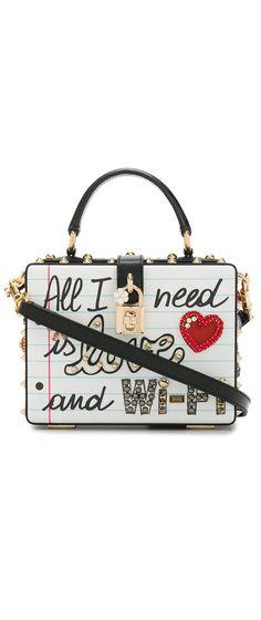 DOLCE & GABBANA  Graffiti Box Bag with Embellishment, explore new season Dolce & Gabbana on Farfetch now.