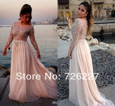 2014 New Arrival Girls Sexy Evening Gown Beads and Crystals Long Sleeve Plus Size Chiffon Long Modest Prom Dresses with Sleeves-in Prom Dres...