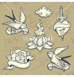 Set of old school tattoo elements with skulls vector by igorij on VectorStock®