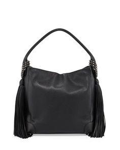 Eloise+Fringe+Leather+Hobo+Bag,+Black+by+Christian+Louboutin (=)