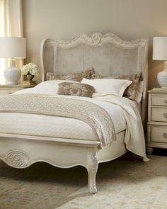 French Country Bedroom Design and Decor Ideas – French Country style provides a calming space for anyone to relax. Done in white and light shades of gray and blue, these bedrooms provide a sophisticated yet entirely approachable haven. Country Bedroom Design, French Bedroom Decor, French Country Bedrooms, Tranquil Bedroom, Romantic Master Bedroom, Stylish Bedroom, Distressed White Bedroom Furniture, Cream Bedroom Furniture, White Furniture