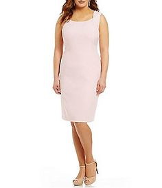 Kasper Plus Stretch Crepe Sheath Dress